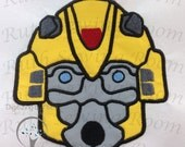 Bumble Bee Face Applique, Transformers Applique Embroidery Design includes free embroidery This is NOT A PATCH