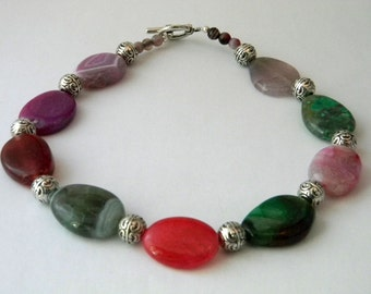 Colorful Chunky Agate Oval Necklace Toggle Clasp 18 Inch