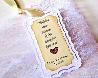 Wedding Bookmark Favors - Personalized - Vintage Inspired - Hand stamped - Happily ever after