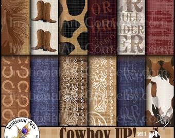 Cowboy Up set 1 - digital papers cowboy boots bandana horses horse shoes 300dpi jpg files [ INSTANT DOWNLOAD ]