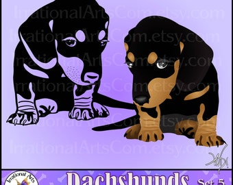 Dachshund set 5 Vector Vinyl Ready Images - 2 EPS SVG PNG + Small Commercial License - 1 dog full color 1 silhouette [Instant Download]