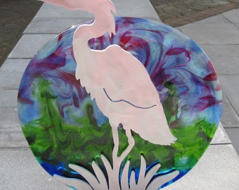 Glass Plate and Brushed Metal Heron Stand: Blue, Green, and Purple Paradise