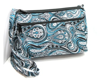 Sassy Cross Body Hipster with Adjustable Strap  Teal Gray and Black Paisley
