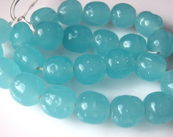 Vintage Japanese Handmade Light Blue Opal Baroque Nugget Beads  12mm  (6)