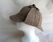 Vintage Sherlock Holmes Deerstalker Tweed Wool Cap Hat with tie up flaps Benedict Cumberbatch