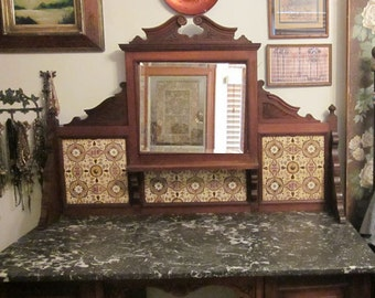Vintage Ornate Carved Victorian Commode  Vanity - Walnut - Desk  Buffet Possibilities - Tile  Italian Marble - 6 Month lay a way Available
