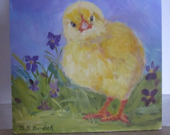 CHICK And VIOLETS Original Oil 6 x 6