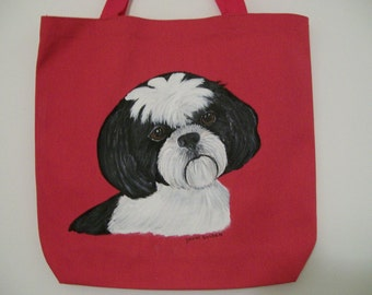 Reusable Canvas Tote with a Black and White Shih-Tzu