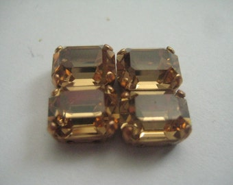 Lot of 4 10x8mm Light Colorado Topaz Octagon Shaped Swarovski Rhinestones in Red BrassSew on Settings