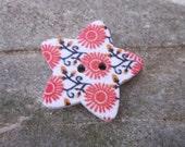 10 Retro Orange Flower Star Wooden  Buttons