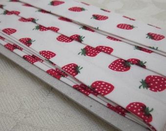 4m White Strawberry Print Bias Binding