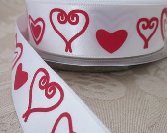 Red and White Heart Pattern Ribbon