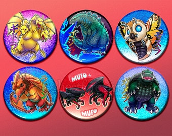 "Godzilla, Friends, and Enemies - Cute Classic Kaiju 1.75"" Pin-Backed Buttons - Set of 6"