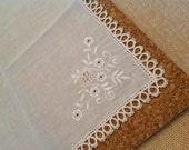 Vintage Handkerchief with Ecru Tatting
