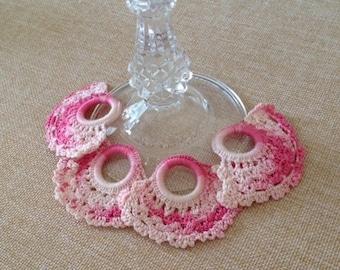 Vintage Pink Crochet Napkin Rings - set of 4