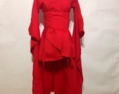 The Red Kimono with Extra Wide Sleeves and Train