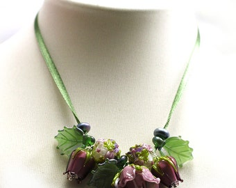 Lampwork by JOPANDA  Roses Amethyst Romantic Glamour Necklace
