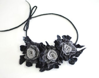 Necklace with felted wool flowers black grey, pick your favorite color