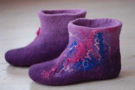Felted wool slippers Size 37  US 7 - Ready to ship