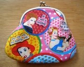 Retro Mid-Century Desperate Housewives Humorous Coin Purse / Audrey Hepburn / pink green polka dot / padded