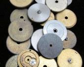 Antique Vintage Clock Watch Parts 20 Cogs Gears Assemblage Steampunk Industrial Art Goodies CG 50