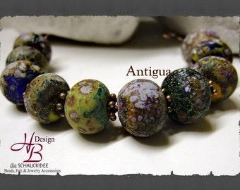 10 Beads Antigua multicolor, Beadset, SRA B131,colorful beads set, Lampwork, Murano