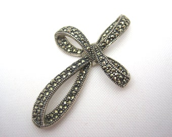 Sterling Marcasite Pendant - Cross