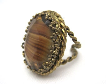 Vintage Art Glass Ring - Dark Butterscotch Adjustable Brass Ring Statement
