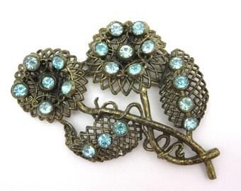 Pot Metal Brooch - Blue Rhinestone Flower Costume Jewelry 1930s