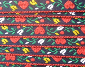 3 Yards Woven Folkloric Costume Traditional Flowers And Hearts Jacquard Trim  IT 6