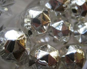 9 Faceted Silver Glass Garland Beads Christmas Garland Beads Czech Republic 13mm 080S