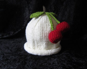 Hand Knitted Cashmere and Wool Cherry Fruit Baby Hat 12-24 months