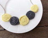 Retro Yellow and Grey Rosette Necklace ON SALE!