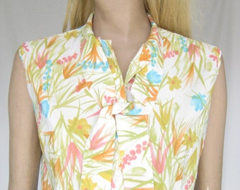 Vintage 60s Ship N Shore Floral Sleeveless Mad Men Blouse