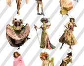 Show Girls Digital Collage Sheets 4 Sheets D18A, B, C and D- Instant Download