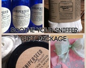 Soothe Your Sniffer Gift Set - Peppermint, Eucalyptus, Shea Butter and Organic Cotton/Bamboo - Less Plastic Glass Packaging