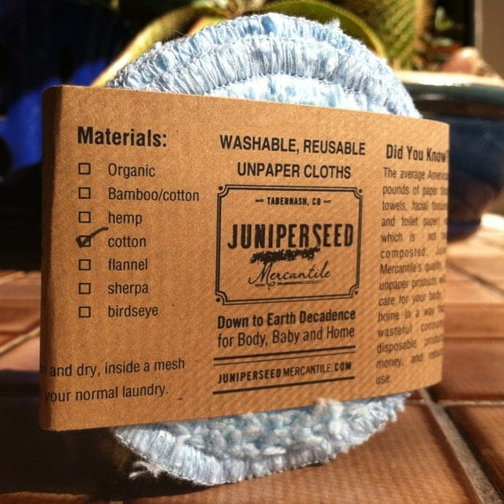 Washable, Reusable Facial Poufs - Blue Cotton Chenille Rounds