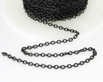 Delicate Black Chain - TierraCast 2mm x 3mm Fine Link Cable Chain - Dark Black Chain for Jewelry and Necklaces 20-0725-13