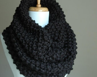 Black Chunky Knit Infinity Scarf Cowl, Hood, Hand Knit, Infinity Scarf,  Women Scarves, Knitted Cowl Hood Oversized Cowl, Winter Scarf Cowl