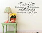 Wall Decal Bible Verse Matthew 6:33 - Vinyl Word Art