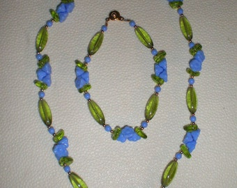Flowers Necklace Bracelet Set, Blue Necklace Set, Spring Jewelery