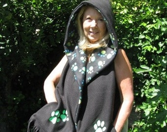 Paw Print Hooded Scarf with Pockets - Black with Green and Blue Paw Prints