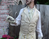 Ivory Pearl Tapestry Cloth and Silk Steampunk Victorian Lapeled Gentlemen's  Wedding Vest