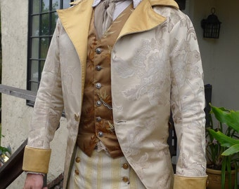Ivory  and Gold Tapestry French Steampunk Wedding Frock Cutaway Coat