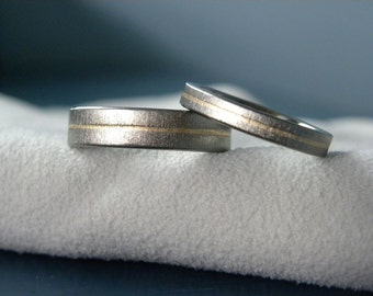 Wedding Band Set or Rings, Titanium with Pinstripe Yellow Gold Inlay, Matching Bands