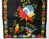 Printed Tea Towel with Birds and Flowers - Vintage 60s 70s - Never Used