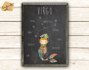 Virgo Zodiac Constellation Stars Print