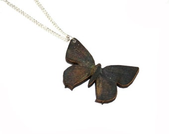 Dark Butterfly Necklace, Wooden Pendant, Butterfly Illustration, Animal Necklace, Wood Jewelry
