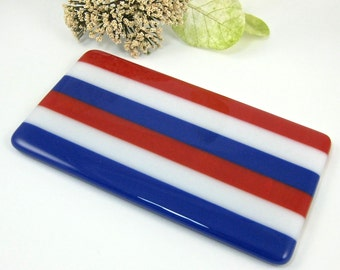 Patriotic Spoon Rest - Red White and Blue Striped Fused Glass Spoon Rest - Butter Dish