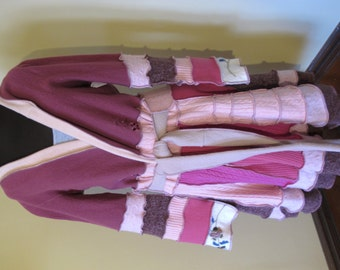 Reconstructed  Wrap & Tie Long Cardigan Coat Duster - Eco Friendly Style - Size Large